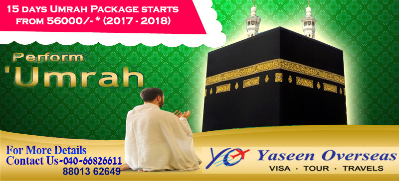 Umrah package November, 2018 Rupees 56,000/- only from Hyderabad.