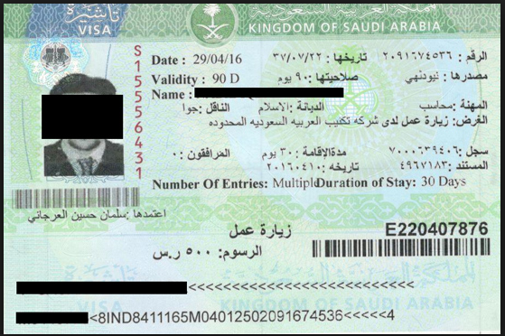 Saudi Visa from Warangal